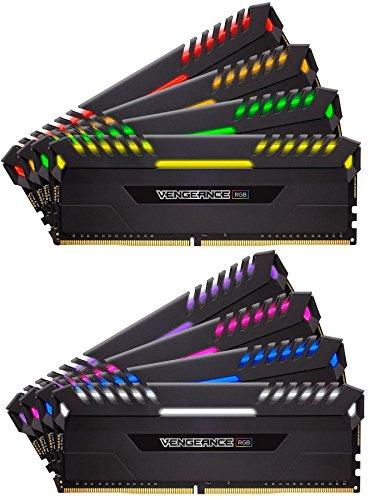 Corsair Vengeance RGB - Kit de Mémorie Enthousiaste (128Go (8x16Go), DDR4, 3600MHz, C18, XMP 2.0) - Noir