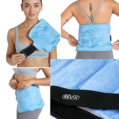 REVIX Reusable Ice Pack for Injuries and Pain Relief (16'X9')- Freeze Gel & Soft Plush Lining Ice Wrap for Shoulder, Back, Hip, Arm & Knee, Cold Compress Therapy for Swelling, Bruises & Surgery