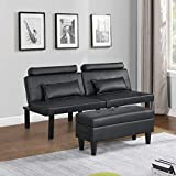 Futon Sofa Bed Couch and Sleeper with Storage Ottoman Footstool or Coffee Table and 2 Lumbar Pillows, Adjustable Convertible Futon Sofa Bed Sleeper Couch Loveseat, Small, Metal Leg, Leather (Black)