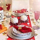 CINMOK Weihnachten Tischläufer Rot Tischdecke Rentier Tisch Läufer Weihnachts Tischband Winter Mitteldecke Weihnachtstischdecken Xmas Tischtuch für Esstisch Weihnachtsessen Kommunion Tischdeko - 5