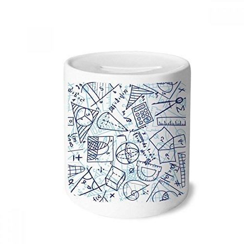DIYthinker Régua de matemática pintada à mão azul com ilustração para caixa de dinheiro caixa de cerâmica porta-moedas presente de cofrinho