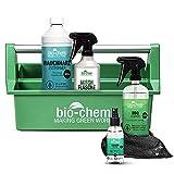 BioChem - Set di 6 pezzi per la pulizia e la pulizia della griglia con detergente per barbecue, affumicatori e accessori con panno in microfibra e cassetta degli attrezzi da 1,85 l