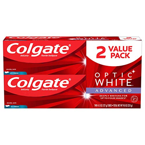 Colgate Optic White Advanced Teeth Whitening Toothpaste, ICY Fresh - 4.5 Ounce (2 Pack)
