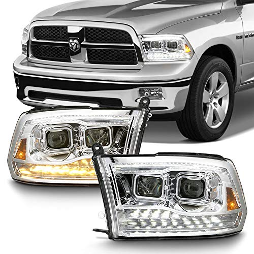 ACANII - For 2009-2018 Dodge Ram 1500 2500 3500 Chrome Housing LED Turn Dual DRL Projector Headlights Headlamps Assembly