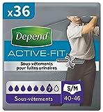 Depend Active Fit Sous-Vêtements Homme (7 Gouttes) Taille S/M pour Fuites Urinaires et Incontinence x36 (4 Paquets de 9...