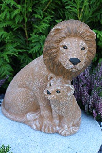 Steinfiguren Spicker Steinfigur Löwe, Löwenpaar, 181 Gartenfigur Steinguss Tierfigur Beige Braun Patina