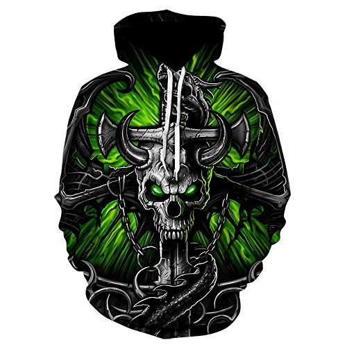 Hoodie Capuchablack Mens Hoodies Sweatshirt 3D Print Funny Skull Hoodie Streetwear Pullover Hip Hop Jacket Men Tracksuit Size3XL We-696