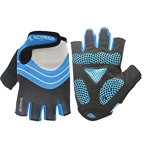 Guantes de Deportes al Aire Libre Antideslizantes de Silicona con absorción de Impactos de Medio Dedo para Montar en Bicicleta de montaña-azul-XL-D18