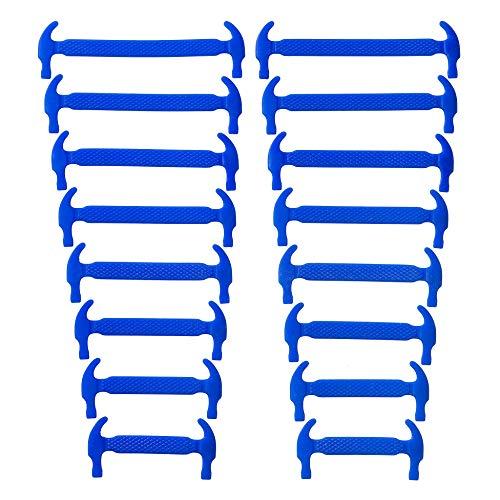 SCHNÜRRLIE elastische Silikon Schnürsenkel ohne Binden für Kinder & Erwachsene, 16 Stück in 8 Größen, Farbe Blau
