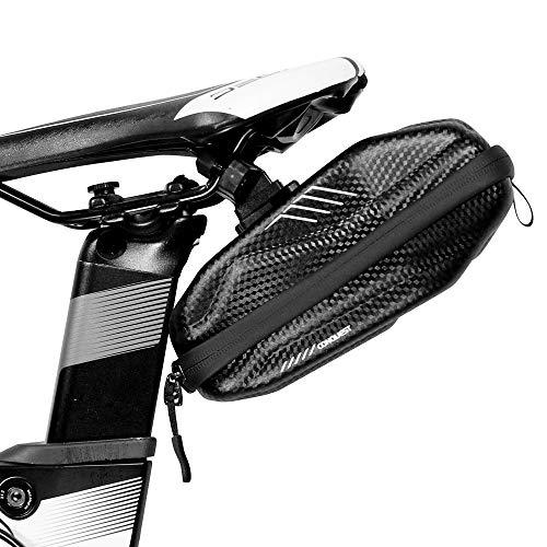 WILD MAN Alforja para sillín de bicicleta de montaña, impermeable, con soporte para luz trasera, color negro
