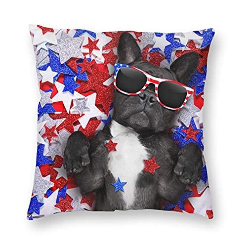 Patriot - Fundas de almohada cuadradas suaves con estampado de bandera americana para decoración del hogar, fundas de cojín para decoración de sofá, dormitorio, coche, 45,7 x 45,7 cm