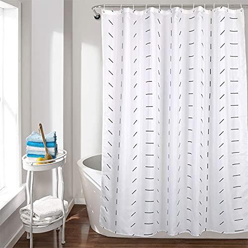 Duschvorhang Weiß & Schwarz 120 x 180 cm - Durchhängendes Design - antischimmel Wasserdicht,Waschbarer Badewanne Vorhang mit 12 Duschvorhangringen