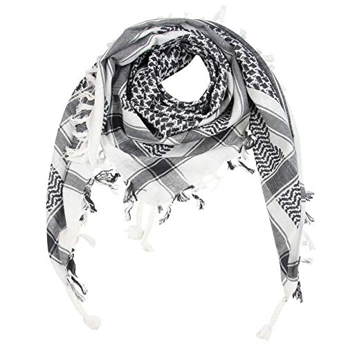 Superfreak Palituch - weiß - grau-dunkelgrau - 100x100 cm - Pali Palästinenser Arafat Tuch - 100{307b43b839e7c1148a79509df3fed3a4f9941d25a1f1b60a32c76ee35bbfa215} Baumwolle