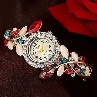 Fashion Ladies Retro Round Dial Petal Bracelet Quartz Watch(Royal Blue) Personality (Color : Colorful)