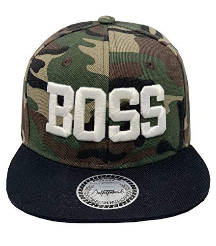 Outfitfabrik Snapback Cap Boss in Camouflage/schwarz, 3D-Stick (Geschenkidee zum Valentinstag, Jahrestag, Verlobung, Hochzeit), für Männer und Frauen, One Size, verstellbar