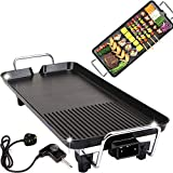 Electrical Grill Convenient Table Top Griddle Non-Stick Plates, Indoor Outdoor Barbecue Griddle with Non-Stick Coating Grill Plate, 1500W Adjustable Temperature Control(L, 48 x 27 x 8 cm)