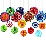 Pompones de Papel de Abeja de Papel Abanicos de Papel Decoraciones Arte Flores Decoración Para la Fiesta Boda Cumpleaños Jardín infantil 16 piezas Color multi