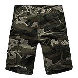 LaoZanA Cargo Shorts Bermudas Hombre Pantalones Cortos Camuflaje Multi-Bolsillo Tamaño Grande Verde 42