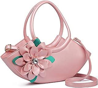 Women's Cross-Shoulder Shoulder Bag Fashion Tote Three-Dimensional Flower Shoulder Bag Dinner Tote Candys house (Color : Pink, Size : 16 * 42 * 8cm)