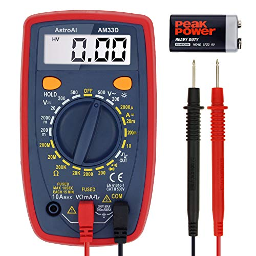 AstroAI Digital Multimeter with Ohm Volt Amp and Diode Voltage Tester Meter (Dual Fused...