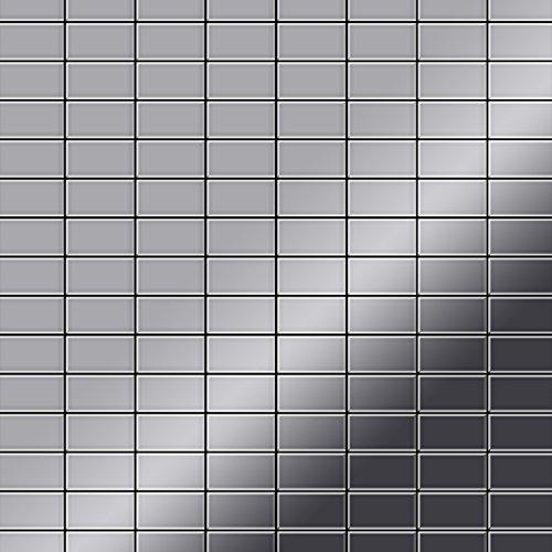 Azulejo mosaico de metal sólido Acero inoxidable Marine pulido espejo gris 1,6 mm de grosor ALLOY Bauhaus-S-S-MM 1,05 m2