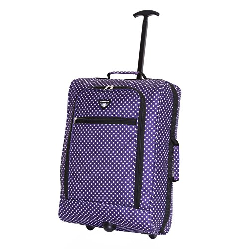 Slimbridge Leichtgewicht Handgepäck Trolley Koffer Bordgepäck Reisekoffer Superleicht Gepäck mit Rollen - 55 cm 1,4 kg 38 Liter auf 2 Rädern, Montecorto Lila Tupfen