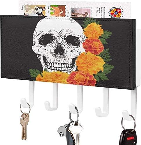 Mail sorteerderSleutelhouder Wandgemonteerde sleutelhaak Skeletten Smile Floral Skull Head en Chrysant Muur Entryway Mailhouder Decoratieve Key Organizer Rack met 5 HakenWitPatroon3