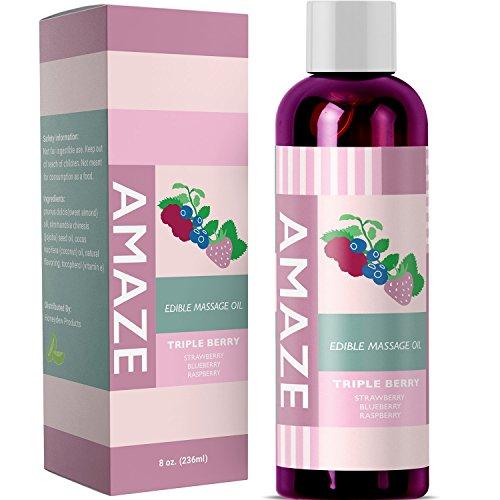 Aromatherapy Edible Massage Therapy Oil for Sensual Erotic Massage - Anti-Cellulite Body Oil for Dry Skin - Natural Anti-Aging Jojoba Almond Coconut Oil Antioxidant Vitamin E - Relieve Muscle Tension