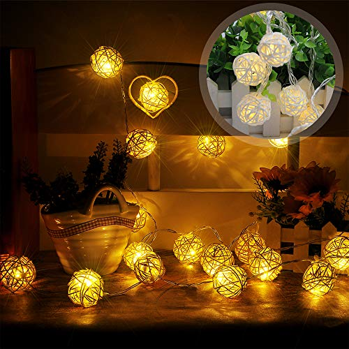 Rattan Ball Fairy Lichterketten, LED Lichterkette Lampion/Laternen Deko für Garten Weihnachten Party Hochzeit Innen und Außen Batteriebetriebene 4 M / 13 ft 20 Birnen (Warmweiss)