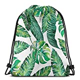 Mochila con cordón Nature Life Design Jungle Leaf Banana Monstera Patrón Creativo Mochila con cordón Impermeable