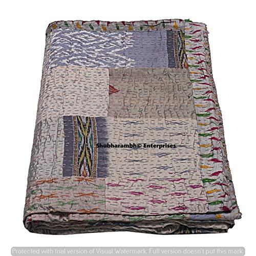 Colcha de seda con estampado de patola bohemia Kantha colcha decorativa reversible Kantha Quilts Boho ropa de cama decorativa doble o individual con costura