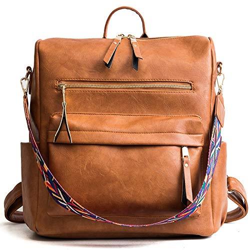 Yi-xir fashion design retrò in pelle zaino zaino borse spalla donna borsa da viaggio moda per distaff leggero e resistente (colore : marrone, dimensioni: 30 * 32 * 14 cm)