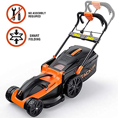 TACKLIFE Electric Lawn Mower, 16-Inch 11Amp Lawn Mower, 6 Mowing Heights, Central Adjustment System, Easy Folding in 5s, 16Gal Grass Box, 10-Inch Rear Wheels & Save Effort–KALM1340A
