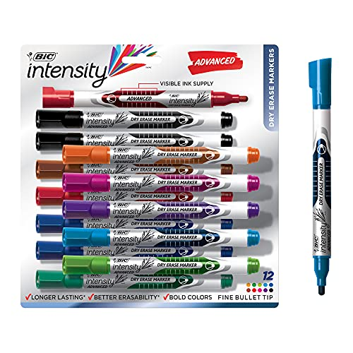 BIC Intensity Advanced Dry Erase Marker, Fine Bullet Tip, Assorted Colors, 12-Count, Low Odor and Bold Writing