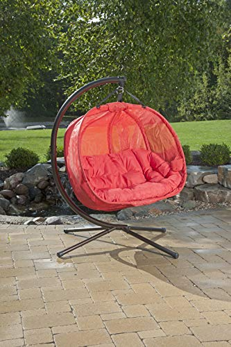 Flower House FHPC100-RD Hanging Pumpkin Loveseat Chair with Stand, Red