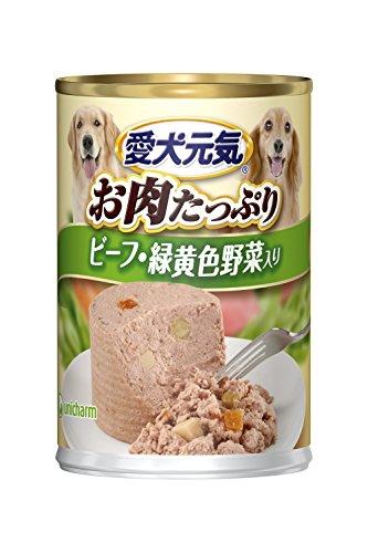 愛犬元気 缶 ビーフ・緑黄色野菜入り 375g×24個入 【ケース販売】