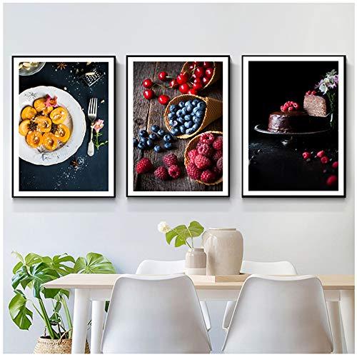 """YIYAOFBH Lienzo Moderno Artista de Pared Estilo nórdico Postre Fruta Lienzo Pintura Carteles impresión Moderna Pared Arte Cuadros para Comedor decoración 50x70cm (19.7""""x27.6) con Marco"""