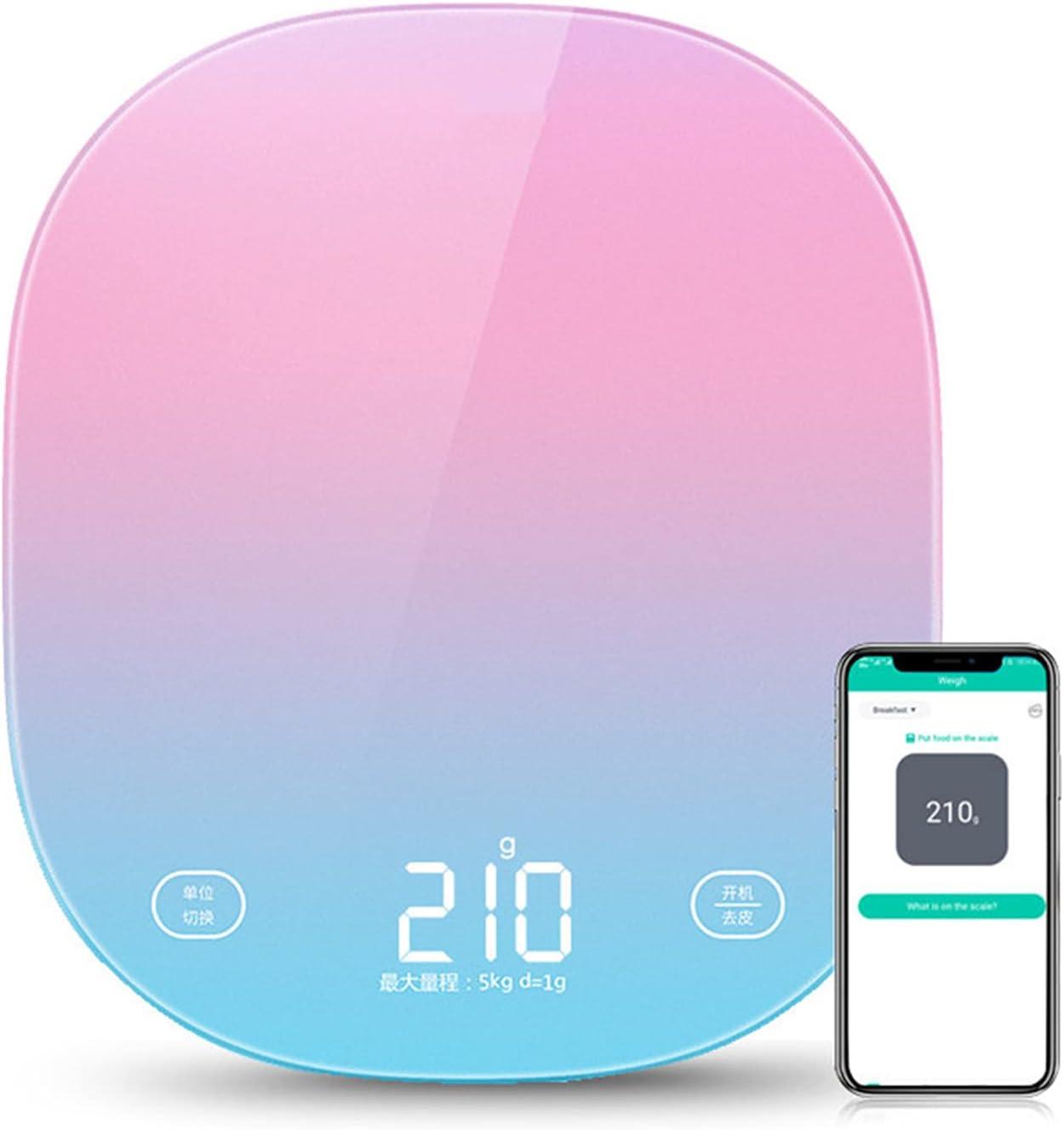 KONGLZG Báscula de Cocina Digital Cocina Inteligente Escala de Peso Medición de pesaje de Alimentos 5kg Escala de nutrición Bluetooth Aplicación Bluetooth Grabar Registro Diario Seguimiento