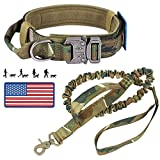 Tactical Dog Collar and Bungee Leash, Military Camo Dog Collar and Leash Set with American Flag Patch - Adjustable Heavy Duty Nylon K9 Collar with Handle and Metal Buckle for Medium Large Dogs