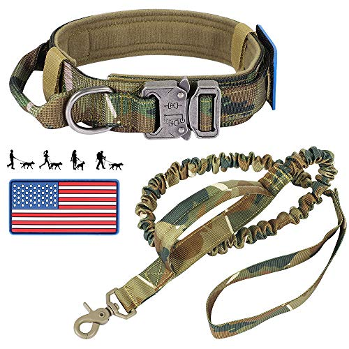 Tactical Dog Collar and Bungee Leash, Military Dog Collar and Leash Set with American Flag Patch - Adjustable Heavy Duty Nylon K9 Collar with Control Handle and Metal Buckle for Medium Large Dogs