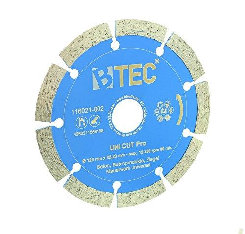 Diamant-trennscheibe BTEC UNI CUT Pro Trennscheibe 125mm zum Schneiden von Beton, Ziegel, Mauerwerk und weiteren Materialien