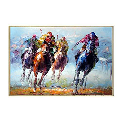 YDDFSGGFDSG El Equipo de Pintores Expertos apoya Directamente la Pintura al óleo de Polo Lienzo Pintado a Mano Polo Deporte Pintura al óleo para el Arte de la Pared,130x150CM