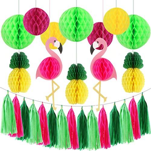 PRETYZOOM Kit de Decoración de Fiesta Hawaiana Fiesta Tropical Flamencos Piñas Pancartas Bola de Nido de Abeja Guirnaldas Papel de Seda Adorno Colgante para Puerta de Pared Verde