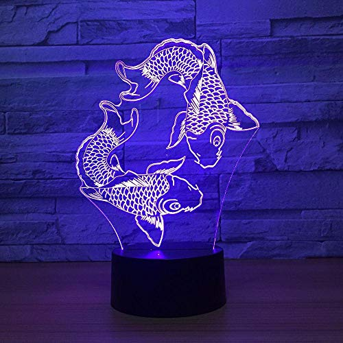 Lámpara De Ilusión 3D Luz De Noche Led Natación Pescado Lava Creativa 7 Cambio De Color Decoración Del Estado De Ánimo De La Boda Regalo Dormitorio Cumpleaños De Los Niños Regalo De Vacaciones Lámpara