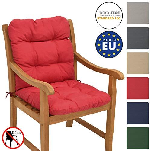 Beautissu Cojín para sillas de balcón Flair NL - Cojín para Asiento Exterior con Respaldo bajo - 100x50x8 cm - Relleno de Copos de gomaespuma - Rojo