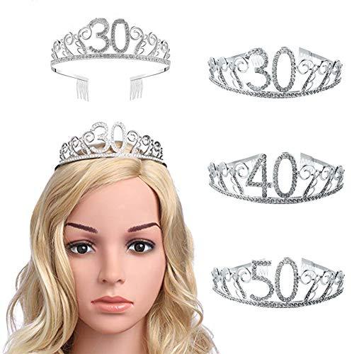 good01 30/40/50 Anni Tiara, Spumante Strass Numero Hollow Donne di Mezza età Festa di Compleanno Corona del Partito di Regina 50 Anni