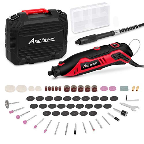 Rotary Tool Kit Variable Speed with Flex Shaft, 61pcs Accessories and Carrying Case for Grinding,...