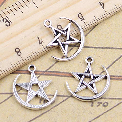 WANM 25Pcs Charms Star Moon 20X18Mm Tibetan Silver Color Pendants Antique Jewelry Making Diy Handmade Craft For Bracelet Necklace