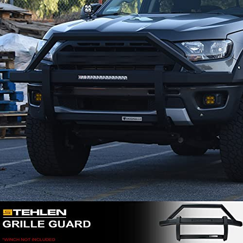 "Armordillo 642167824442 Steel Pre-Runner Bumper Grille Guard with 20"" Built-In LED Fog Light Bar - Matte Black For 2019-2021 Chevy Silverado 1500"