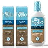 Hello Oral Care Antiplaque + whitening fluoride free toothpaste, 4.7 ounces (2 count) + naturally healthy antigingivitis mouthwash, 16 ounces